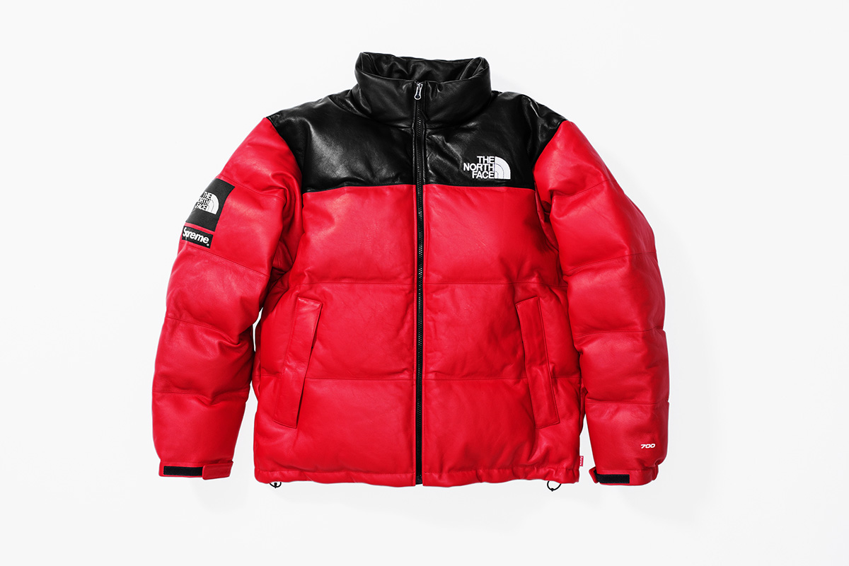 Fall:Winter 2017 Release - Leather Nuptse Jacket Red Front