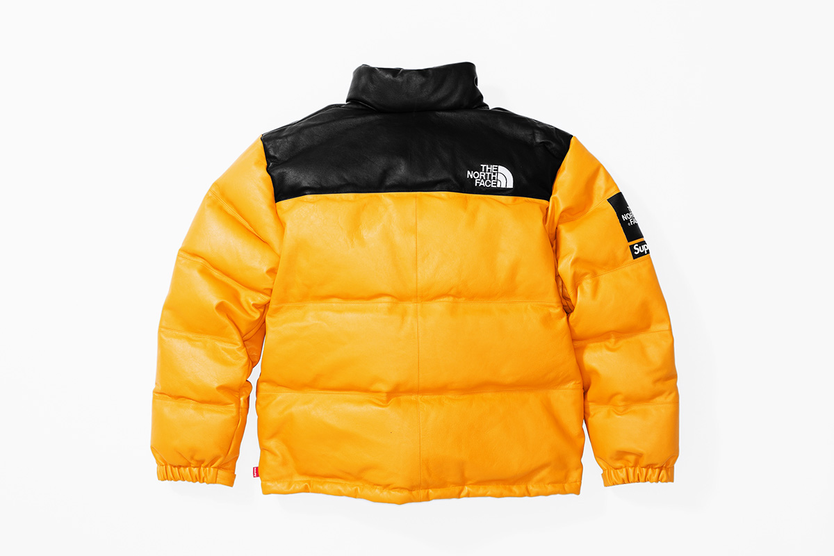 Fall:Winter 2017 Release - Leather Nuptse Jacket Yellow back