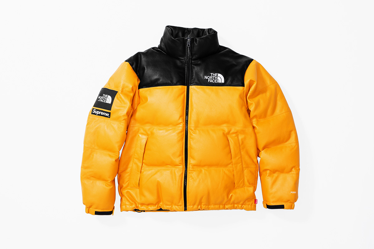 Fall:Winter 2017 Release - Leather Nuptse Jacket Yellow front