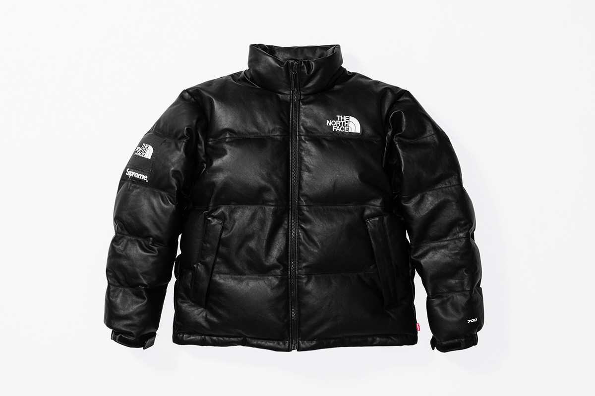 Fall:Winter 2017 Release - Leather Nuptse Jacket black front