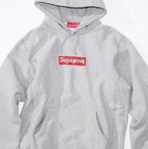 Supreme 25th Anniversary Swarovski Box Logo hoodie gray
